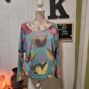 VINTAGE HIGHWAY abstract color pop blouse large